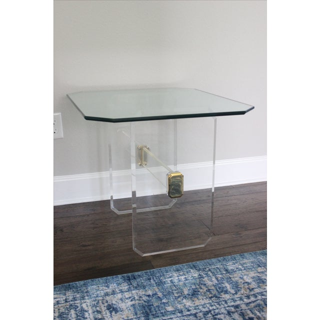 Vintage Lucite Brass and Glass End Tables - Pair - Image 7 of 11