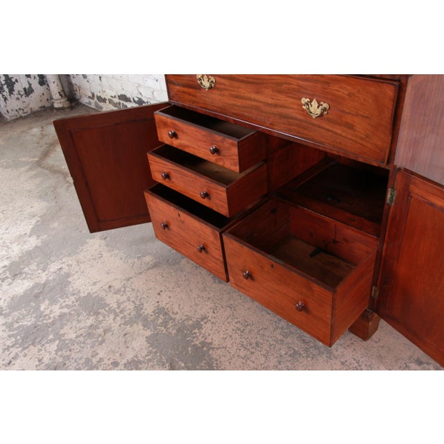 English George III Style Mahogany and Cherry Drop Front Secretary Desk With Bookcase, Circa 1870 For Sale - Image 9 of 13