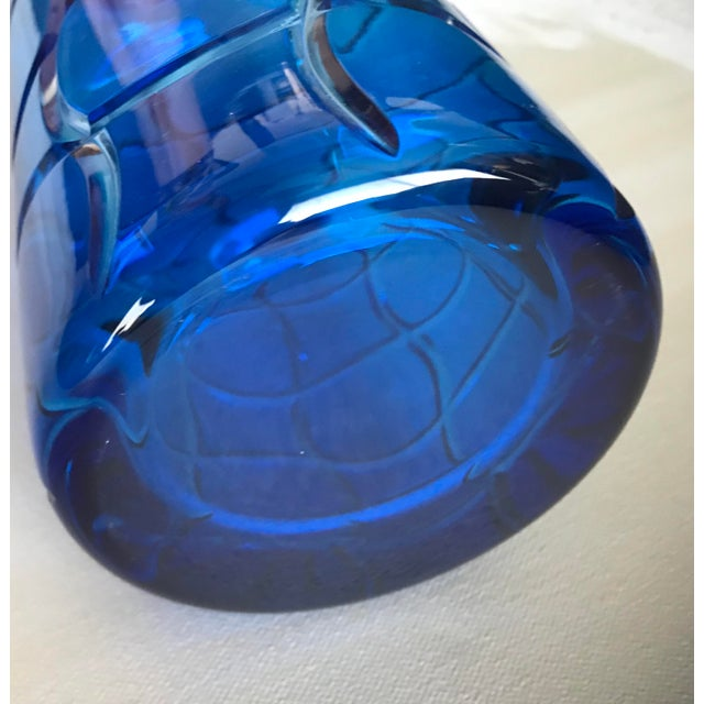 Contemporary Cased Crystal Aqua Blue and Clear Modern Crystal Decanter For Sale - Image 3 of 4