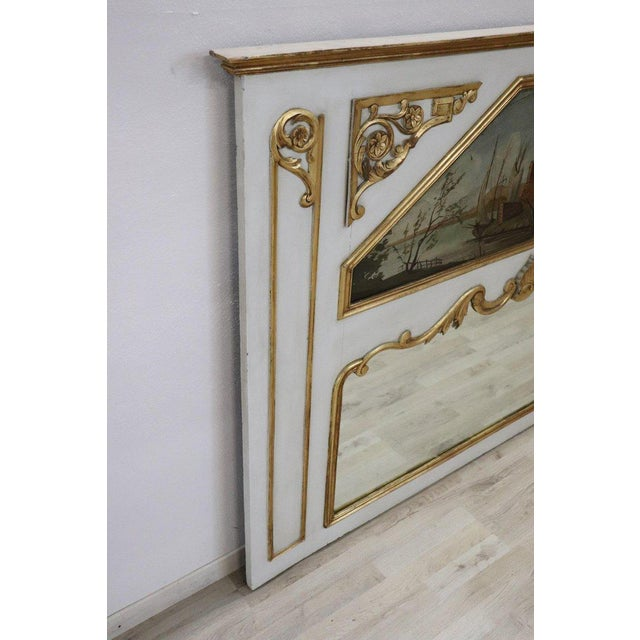 Giltwood 20th Century, Italian Louis XVI Style Wood Lacquered and Gilded Fireplace Mirror For Sale - Image 7 of 13
