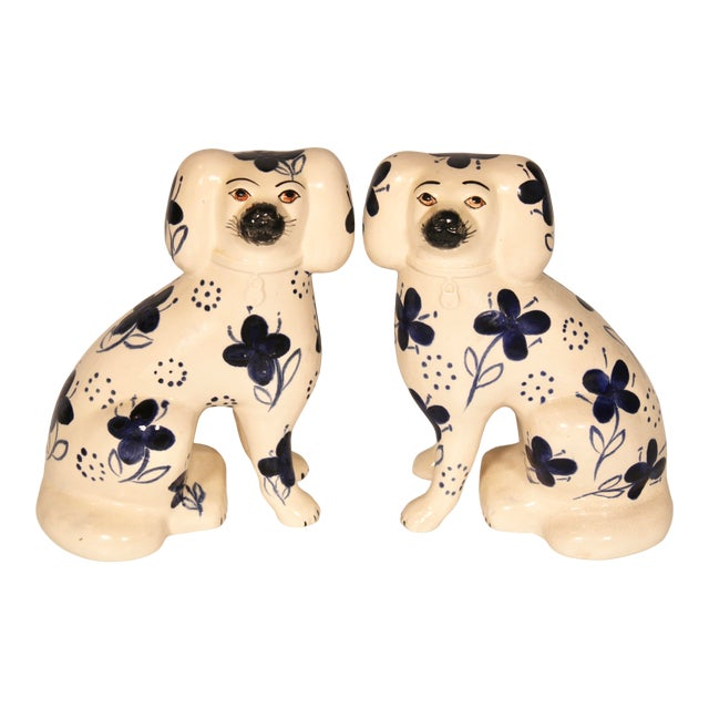 Antique Blue and White Staffordshire Dogs - a Pair For Sale