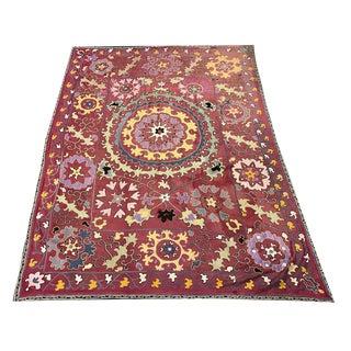 Antique Handmade Suzani Bedspread For Sale