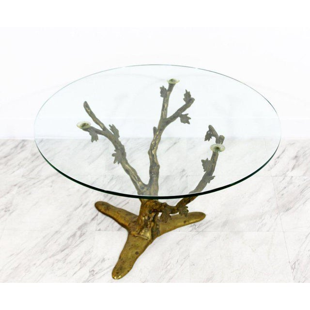 For your consideration is a fantastic cast bronze side or end table, with a three limb branch base, and a round glass top....