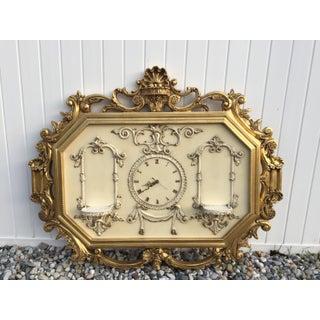 Hollywood Regency Very Large Gold Gilt Framed Clock With Shelves Preview