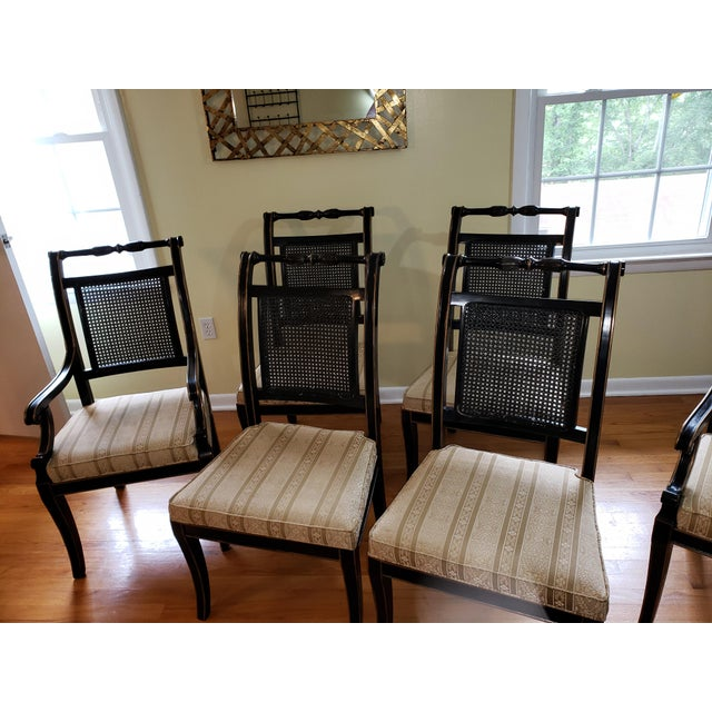 Take a look at these gorgeous Beacon Hill Treasury Showroom Regency Dining Chairs! There are six pieces - two Regency...