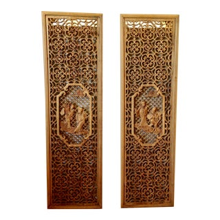 Chinese Carved Wall Panels - a Pair For Sale