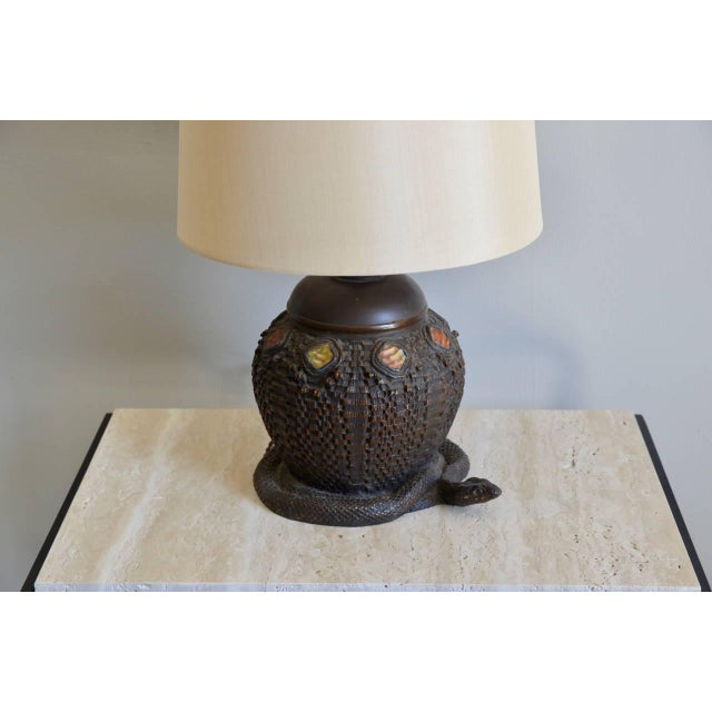 Mid 20th Century Heavy Tiffany Snake Basket Patinated Bronze Lamp With Custom Silk Shade For Sale - Image 5 of 12
