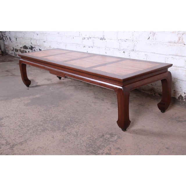 Baker Furniture Company Michael Taylor for Baker Chinoiserie Rosewood and Walnut Coffee Table, Newly Restored For Sale - Image 4 of 12