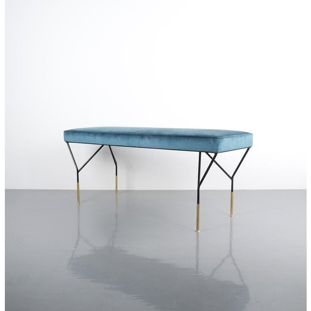 Gold Italian Petrol Velvet Brass Bench Refurbished, Italy 1950 For Sale - Image 8 of 9