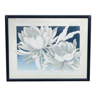 "Vintage Signed Flower Print - ""Belle De Nuit"" - 55x48"
