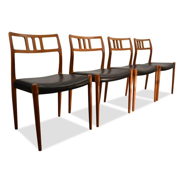 Niels Moller Set of Four Møller Dining Chairs For Sale - Image 4 of 4