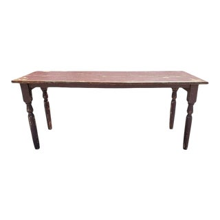 19th Century Burgundy Painted Harvest Table For Sale