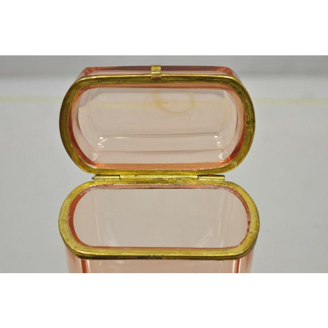Early 20th Century Antique Pink Glass Trinket Jewelry Casket Box Chest Brass Hinge For Sale - Image 5 of 11