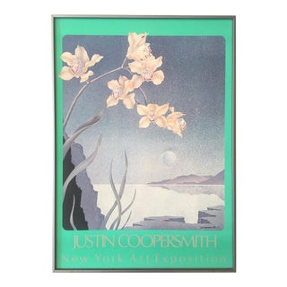 Justin Coopersmith Vintage 1980's Post Modern Orchids Framed Lithograph Poster For Sale