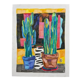 """Painted Cacti"" Drawing For Sale"