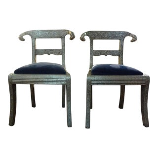 Vintage Anglo-Indian Silver Clad Dowry Wedding Chairs With Rams Heads-Pair For Sale