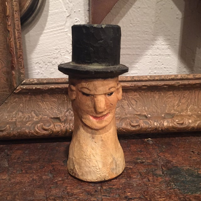 Vintage Folk Art Wooden Head With Hat - Image 3 of 9