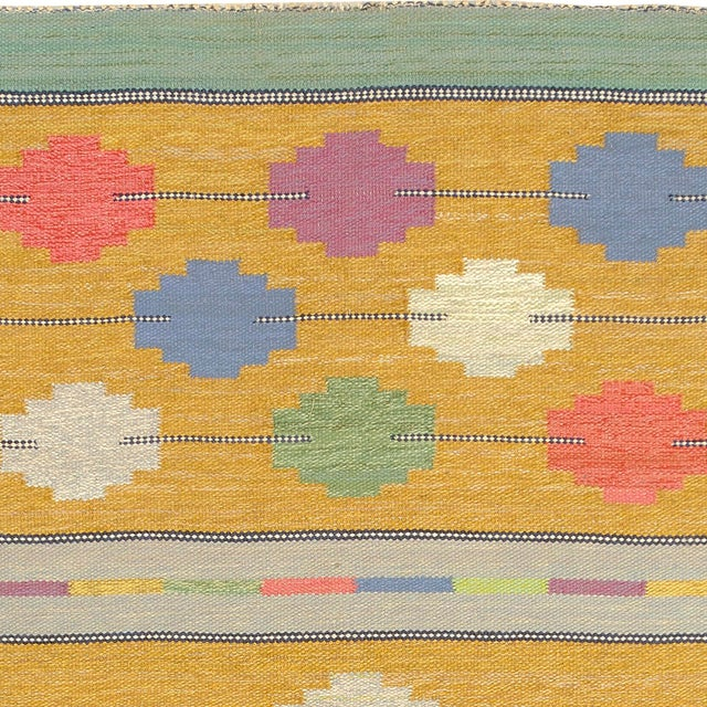 Mid-Century Modern Swedish Flat Weave Rug- 4′1″ × 7′4″ For Sale - Image 3 of 6