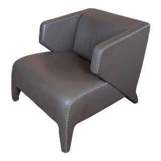 1980s Vintage Roche Bobois Fabulous Modern Leather Club Chair For Sale