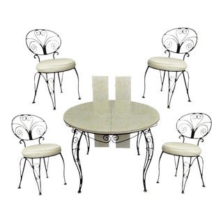 Vintage Mid Century Modern Curule Wrought Iron Patio Dining Set Table 4 Chairs For Sale