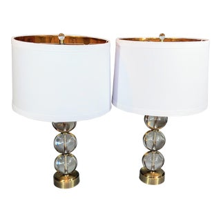 Global Views Crystal Ball Lamp in Brass With Linen & Gold Lined Shade - a Pair For Sale