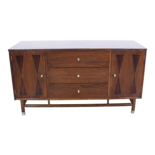 Mid-Century Danish Modern H. Paul Browning Stanley Petite Walnut Credenza For Sale