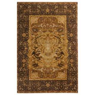 17th Century Inspired Black and Gold Wool and Silk Rug - 5′2″ × 7′2″ For Sale