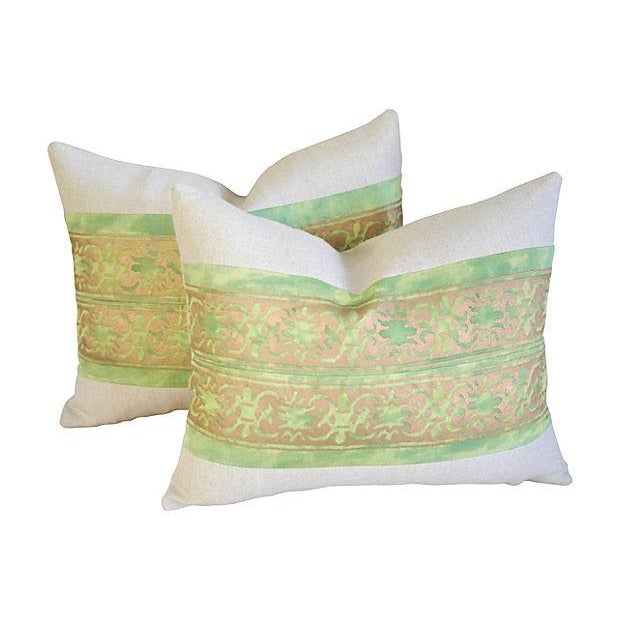 Custom Italian Fortuny Pillows - A Pair - Image 4 of 4