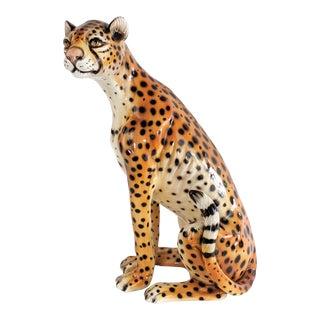 Vintage Ceramic Cheetah Sculpture For Sale
