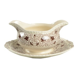 Mason's Bow Bells Brown Gravy Boat With Attached Underplate For Sale