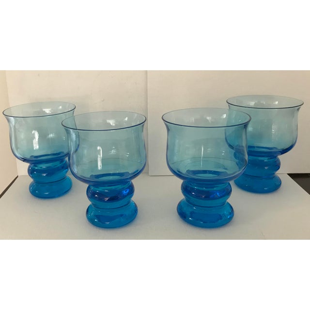 Glass Vintage Hand Blown Rocks Glasses Aqua Blue Turquoise - Set of 4, (10 Available) For Sale - Image 7 of 11