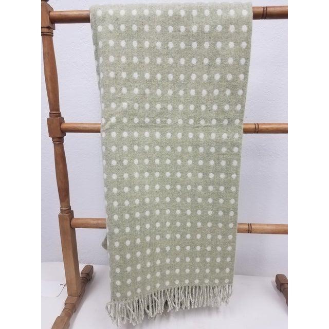 Light Green Merino Wool Throw Light Green Polka Dot - Made in England For Sale - Image 8 of 8