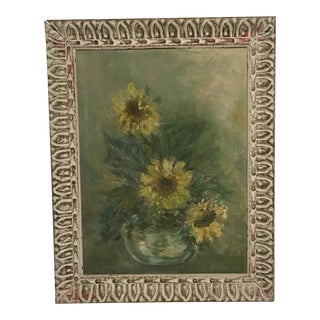 """""""Sunflowers in Vase"""" Painting in Whitewashed Frame For Sale"""
