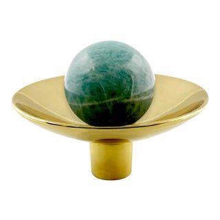 Addison Weeks Gibson Knob, Brass & Amazonite For Sale