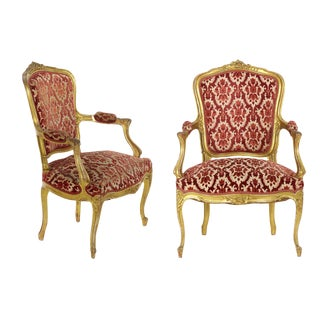French Louis XV Style Carved Giltwood Antique Arm Chairs - Set of 2