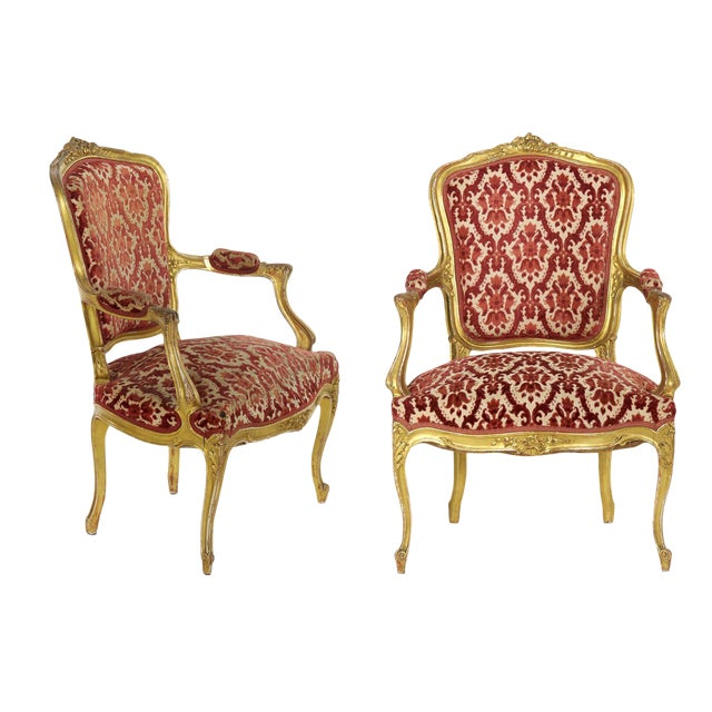 French Louis XV Style Carved Giltwood Antique Arm Chairs - Set of 2 - French Louis XV Style Carved Giltwood Antique Arm Chairs - Set Of 2