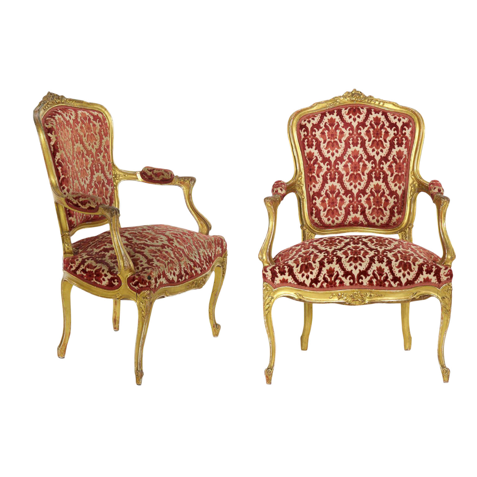 French Louis XV Style Carved Giltwood Antique Arm Chairs   Set Of 2