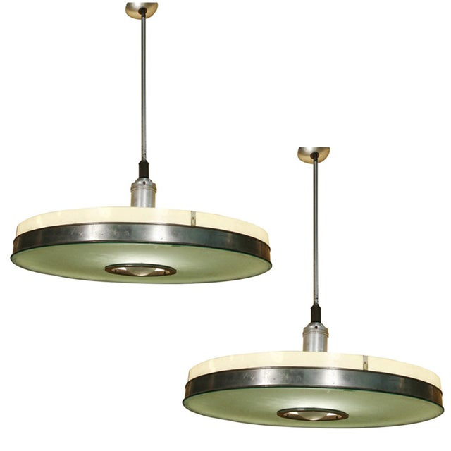 White Original May Company Wilshire Streamline Art Deco Pendant Ceiling Lamp, Pair For Sale - Image 8 of 8