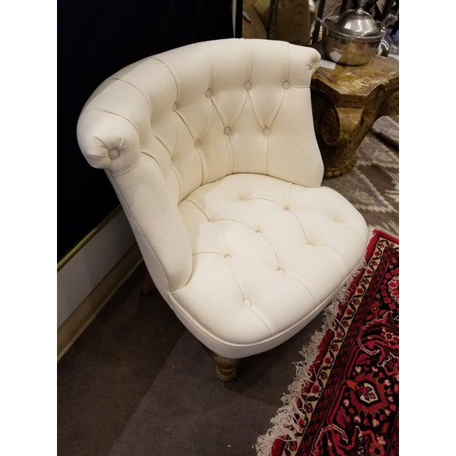 2010s Ivory Linen Tufted Slipper Chair For Sale - Image 5 of 7