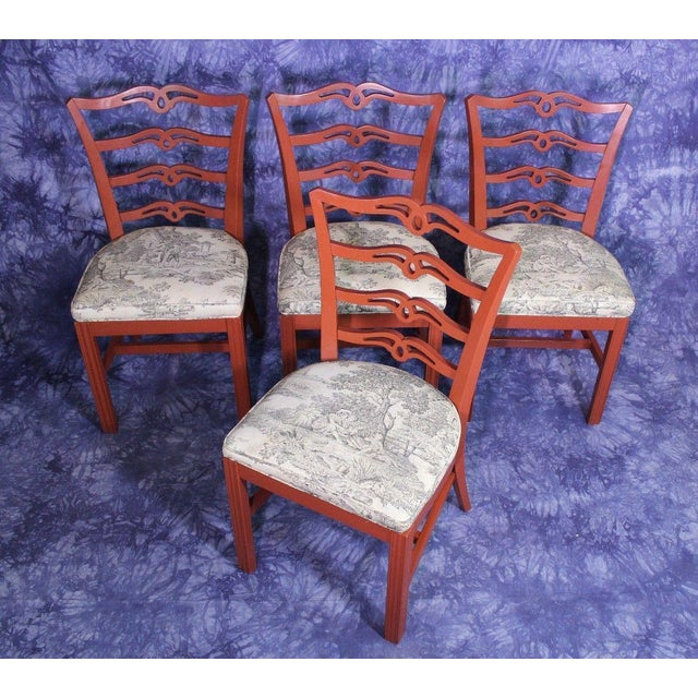 Red Painted Antique Dining Chairs - Set of 4 For Sale - Image 10 of 11