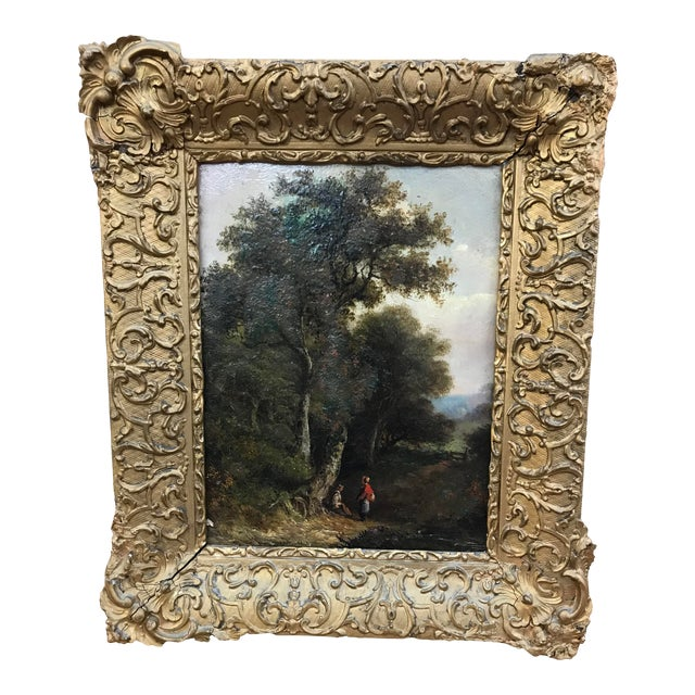19th Century Pastoral Landscape Oil on Board Painting, Framed For Sale