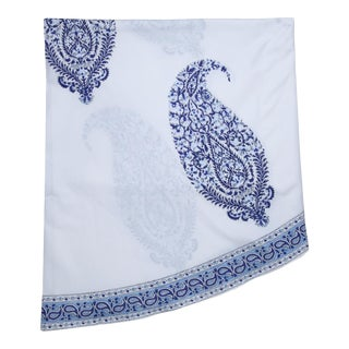 Malabar Large Paisley Round Tablecloth - Deep Blue For Sale