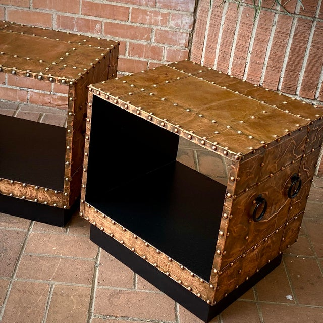 1960s Copper Clad End Tables - a Pair For Sale - Image 4 of 6