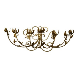 Vintage French Provincial Gold Wrought Iron Wall Sconce Candelabra For Sale