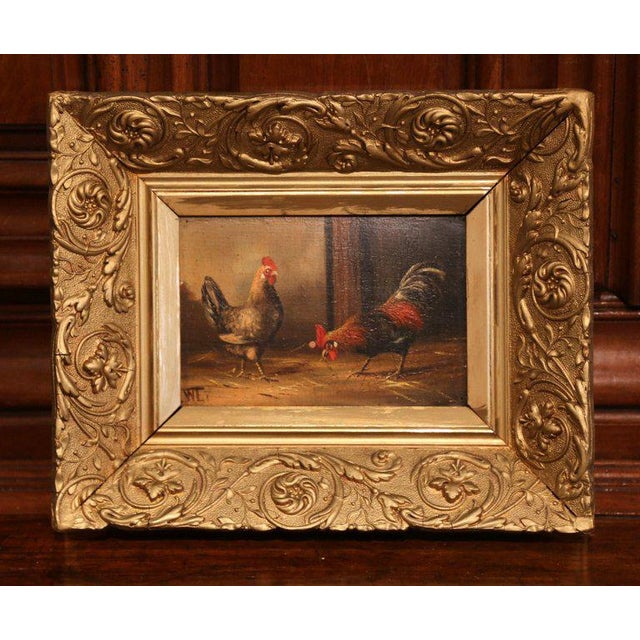 Add farmhouse flair to your home with this charming pair of antique chicken paintings from France. Painted on board circa...