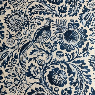 """Clarence House Blue """"Delft"""" Linen Fabric- 10 Yards For Sale"""