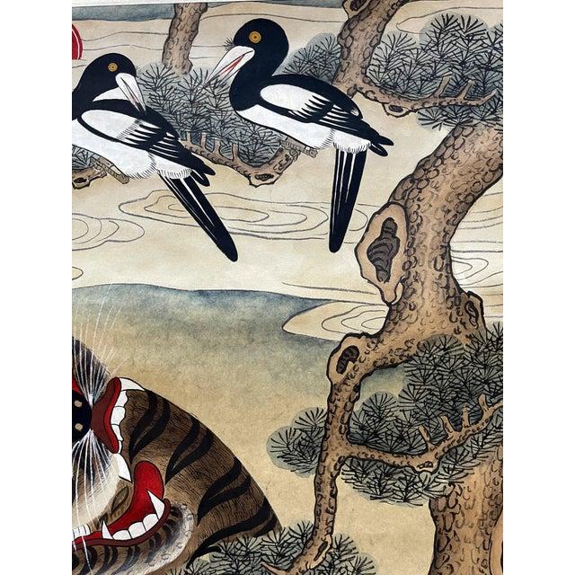 Paper Korean Jakhodo Minhwa Folk Scroll Painting For Sale - Image 7 of 11