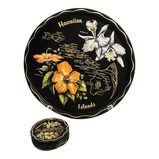 1960s Vintage Hawaii State Souvenir Tray & Coaster Set of 7 For Sale