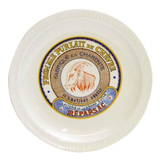 French Fromage Purlait de Chevre Ceramic Plate For Sale
