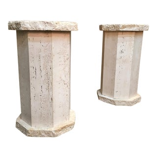 Octagonal Travertine Columns-a Pair For Sale